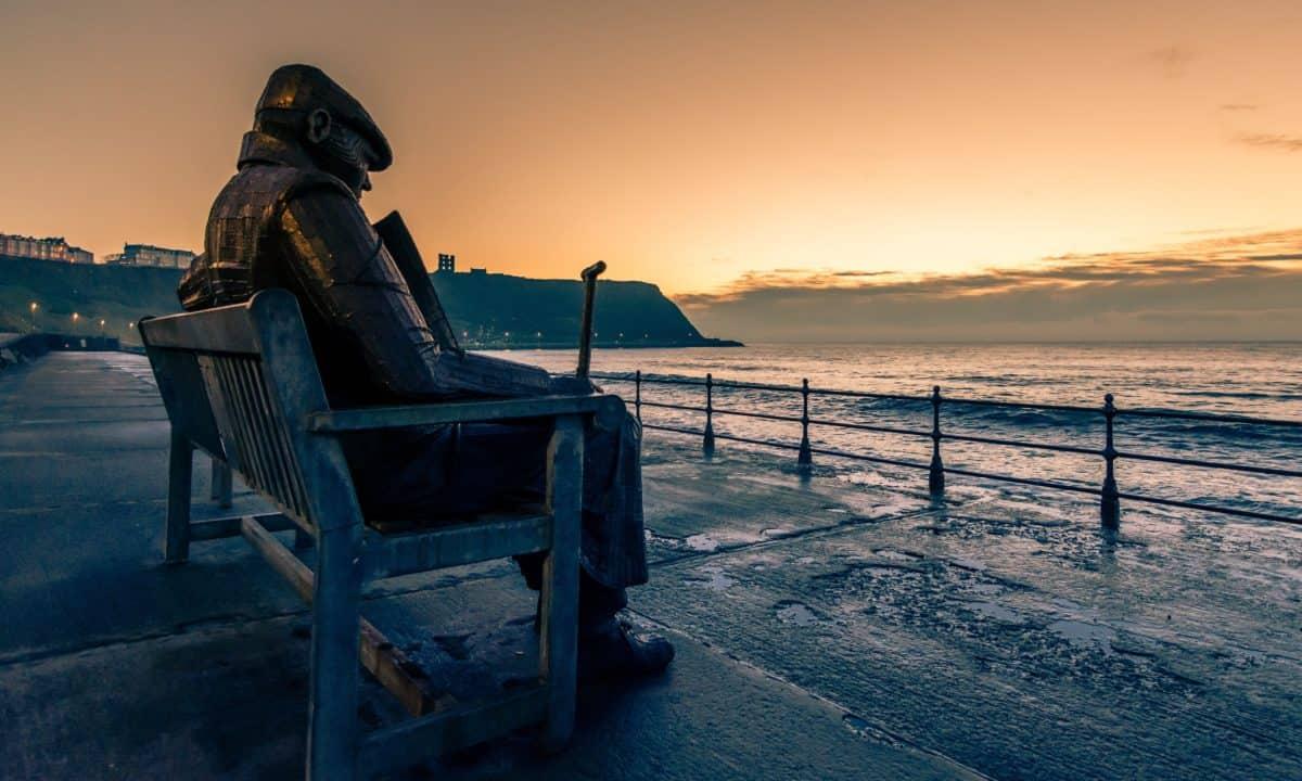 spiaggia, acqua, alba, mare, spiaggia, tramonto, oceano, sagoma, scultura, statua, cielo