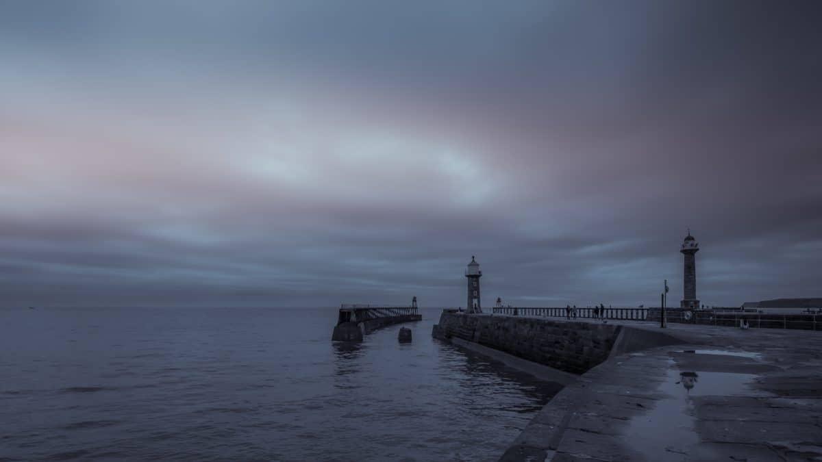 phare, eau, aube, structure, mer, ciel, brume