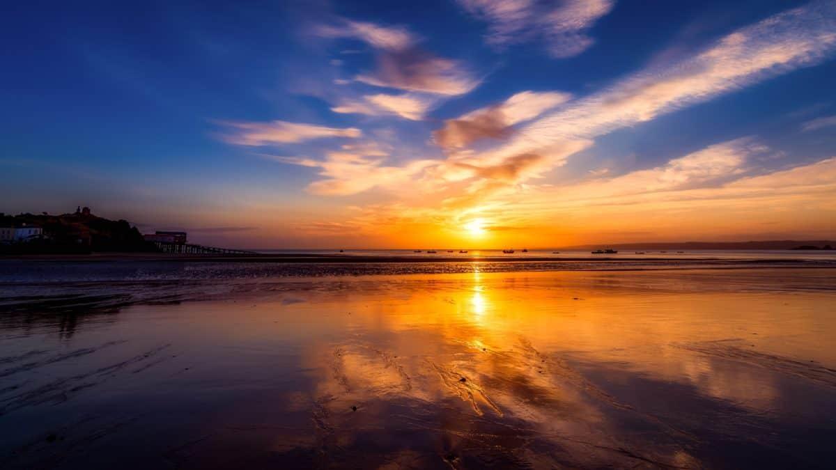 water, sea, sunrise, beach, dusk, dawn, sand, sky