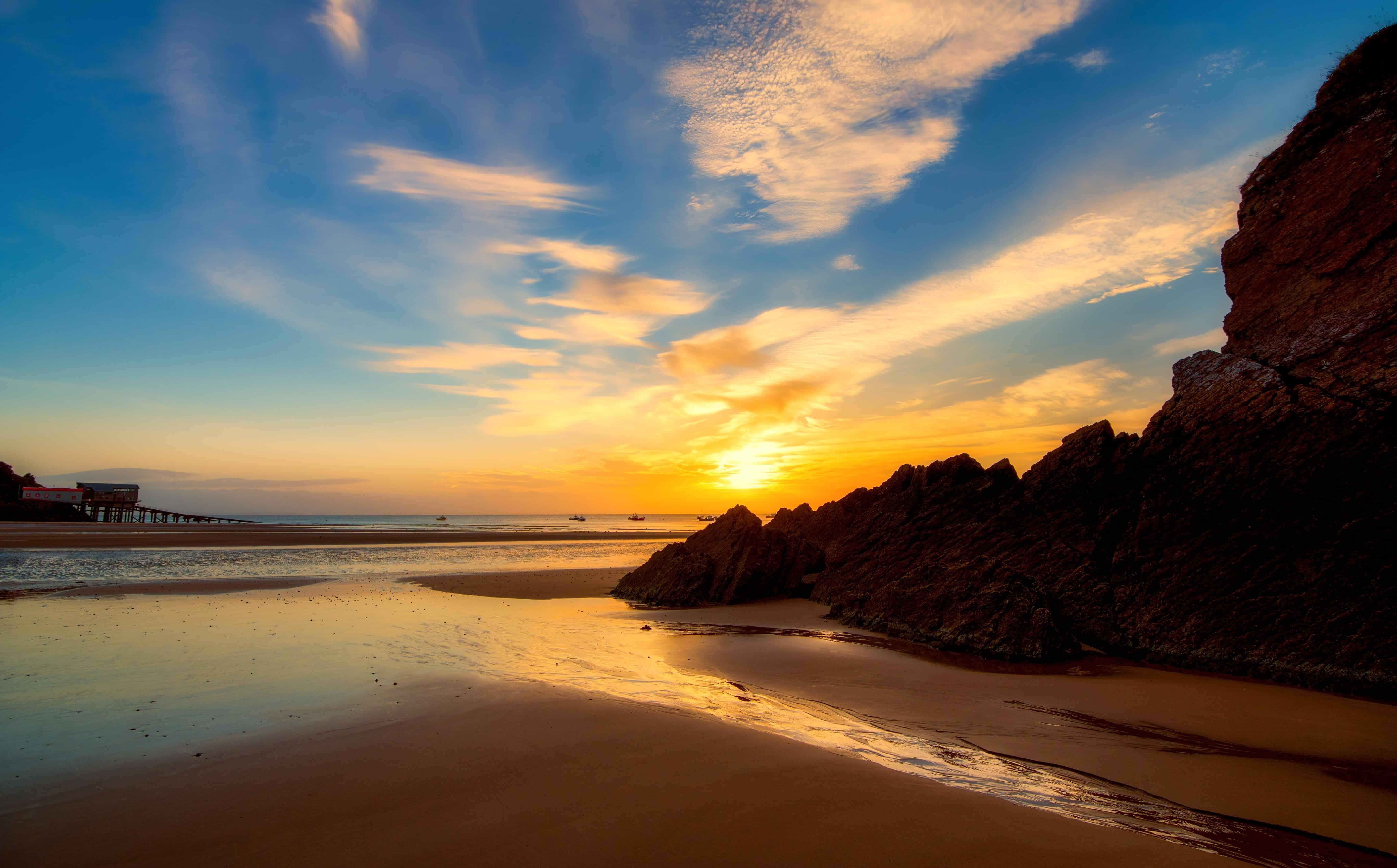 free picture seashore sea sand sunset water sun beach dawn
