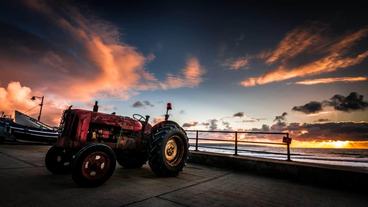 puesta de sol, tractor, barco, vehículo, cielo, al aire libre