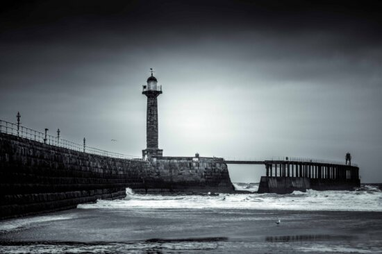water, sunset, sea, pier, tower, beacon, structure