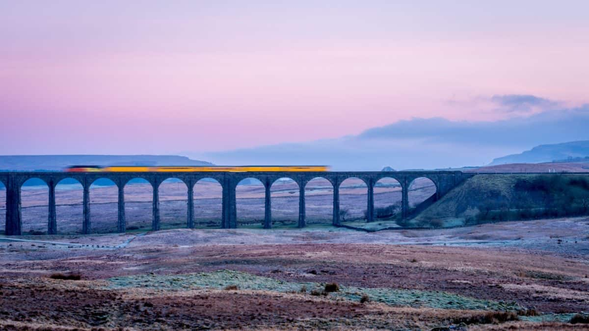 paisaje, niebla, cielo, puesta del sol, puente
