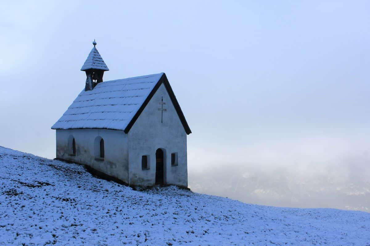 invierno, cielo azul, nieve, iglesia, torre, arquitectura, religión