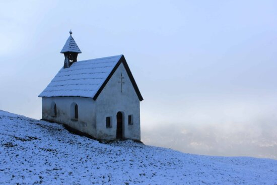 winter, blue sky, snow, church, tower, architecture, religion