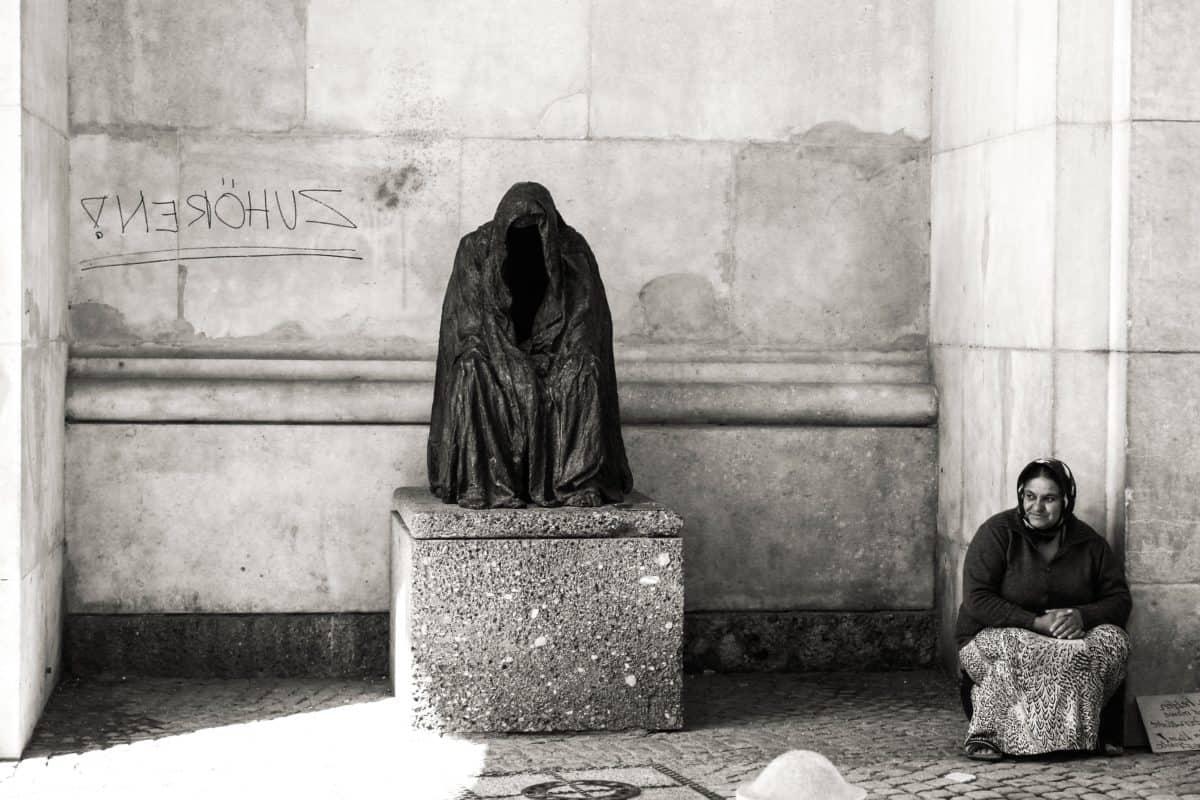 statue, art, woman, city, monochrome, street