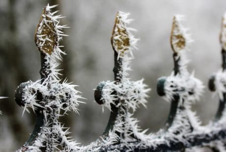 fence, snowflake, iron, steel, metal, frost, snow, winter
