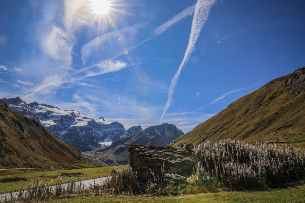 ciel bleu, paysage, soleil, nature, montagne, structure, plein air