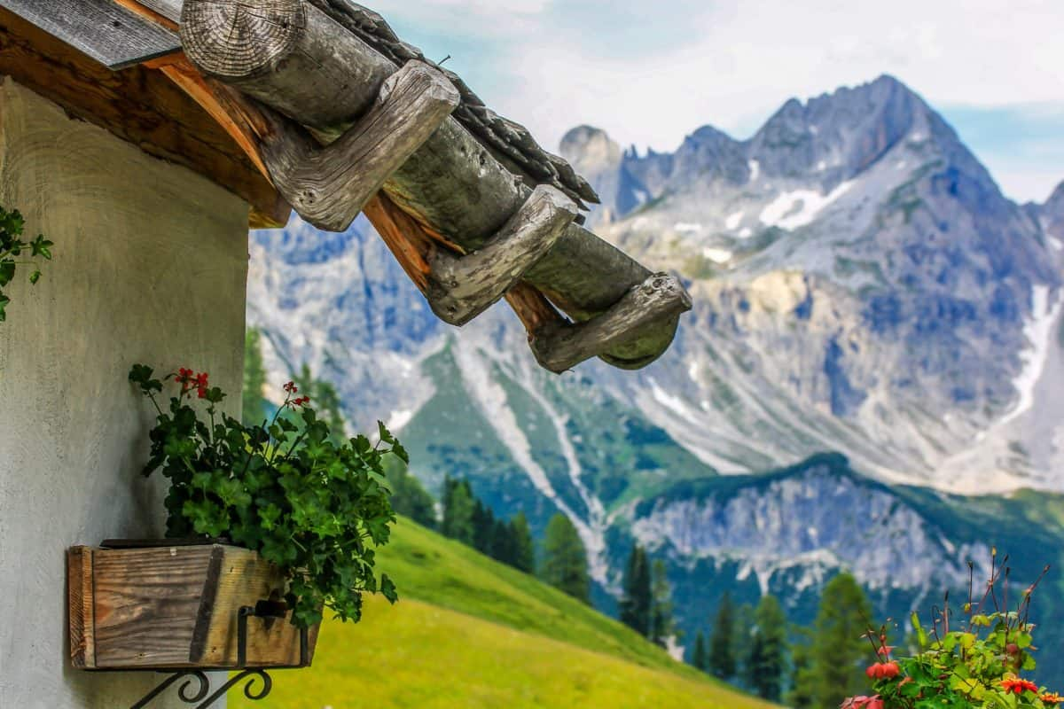 mountain, blue sky, flowerpot, nature, landscape, snow, outdoor, blue sky