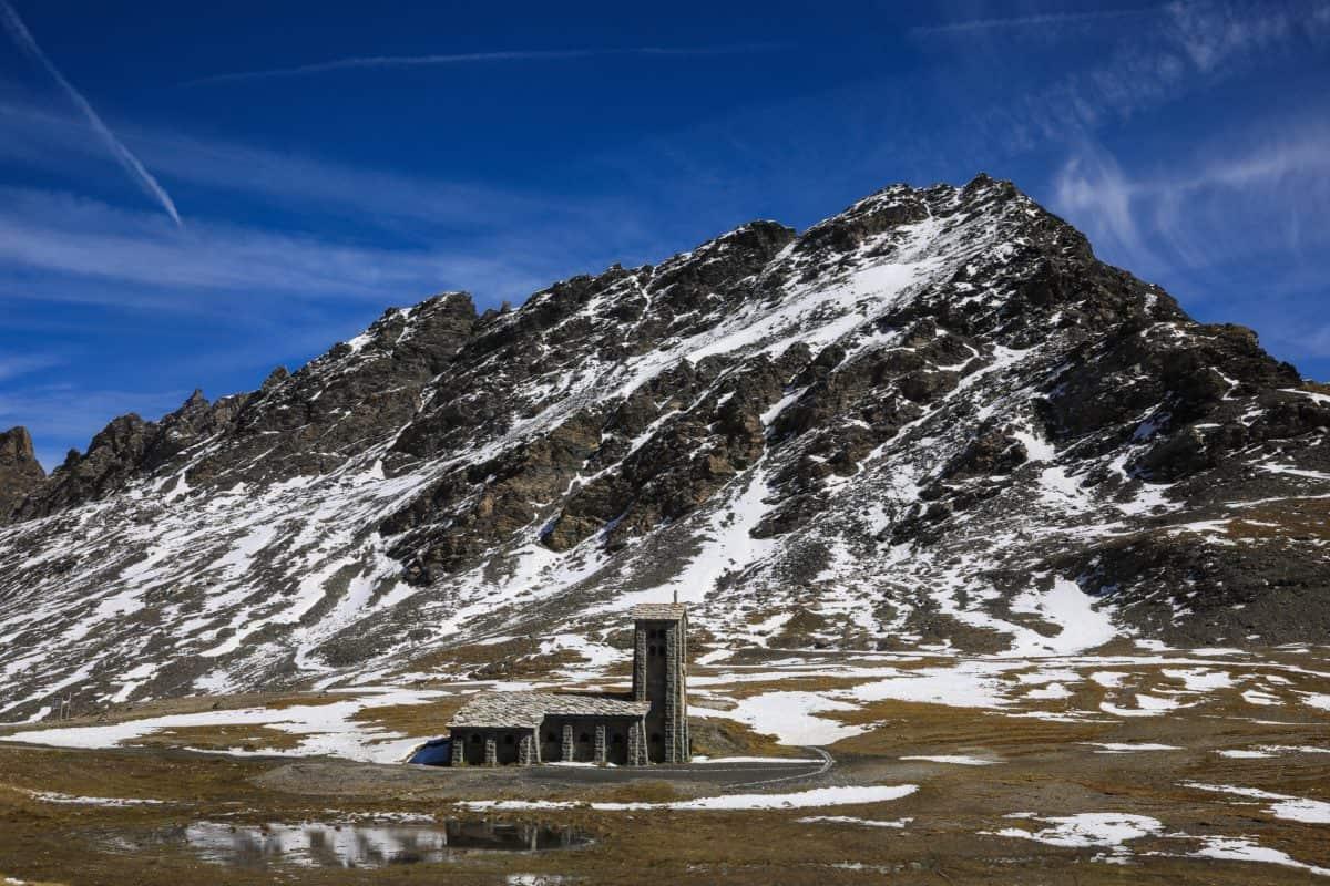neve, montagna, paesaggio, inverno, cielo blu, all'aperto