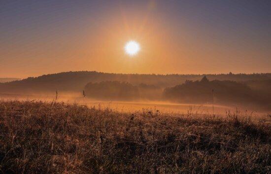 landscape, field, fog, sun, sunset, nature, sky, outdoor