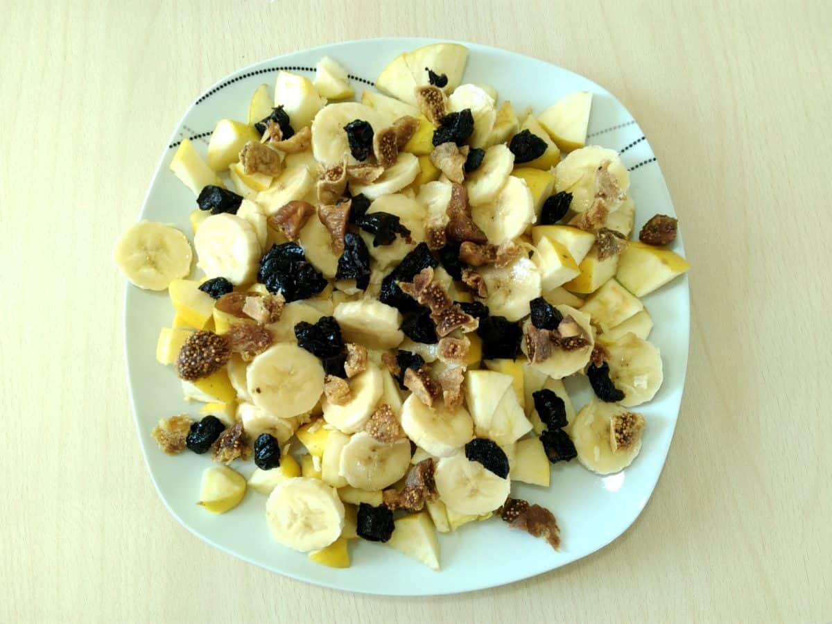 mat, måltid, frokost, parabol, middag, deilig, banan