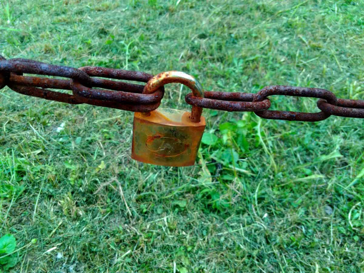 protection, steel, chain, rust, grass, padlock, security, iron