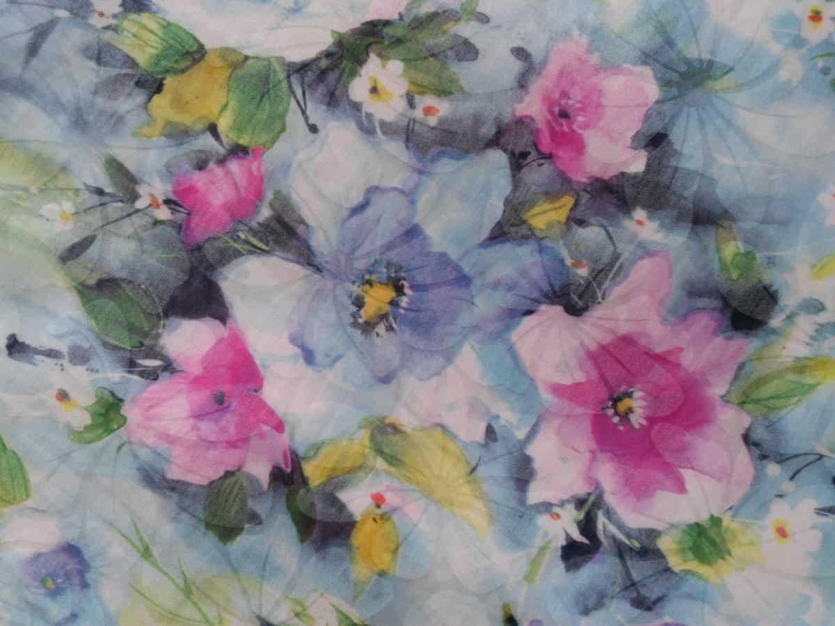 textil, acuarela, bella, flora, flor, arte, hoja, pañuelo, algodón