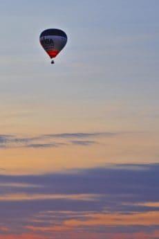 ballon, ciel, coucher de soleil, plein air, transport