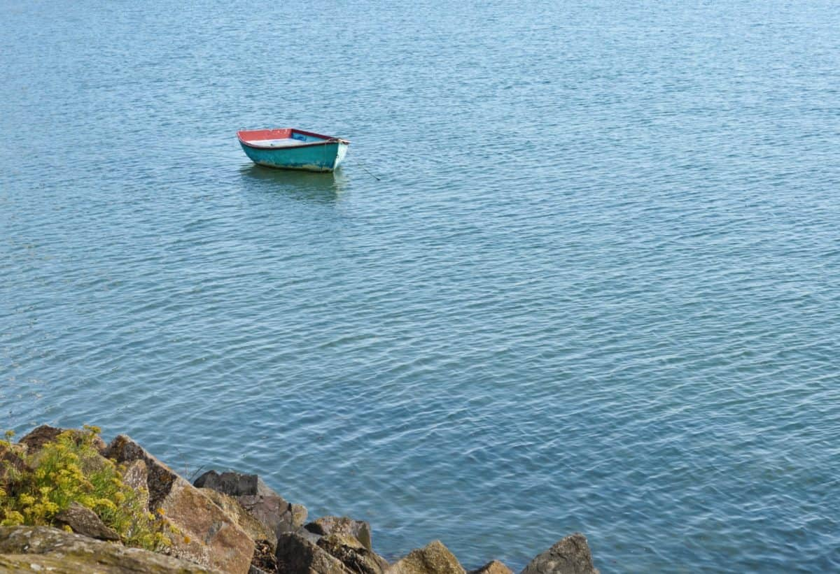 ocean, sea, landscape, seashore, boat, lake, water