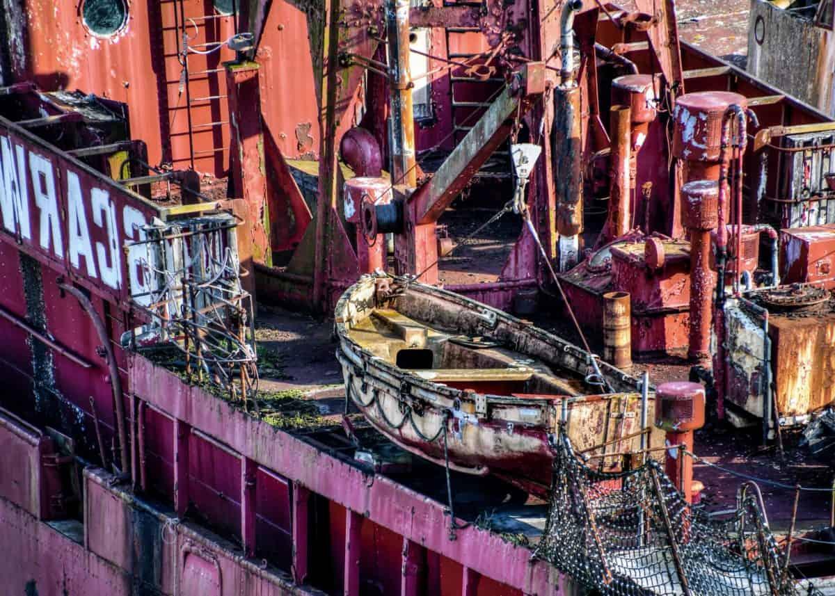 industrie, navire, métal, port, bateau en plein air, transport, coloré