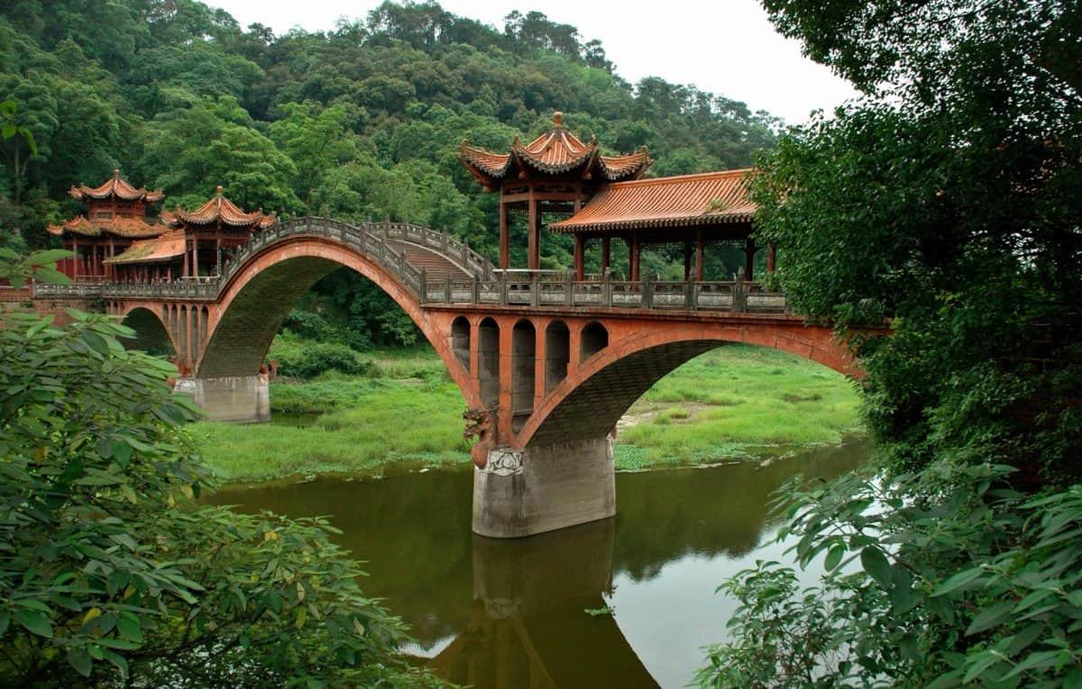 bridge, wood, river, architecture, water, tree, outdoor, grass
