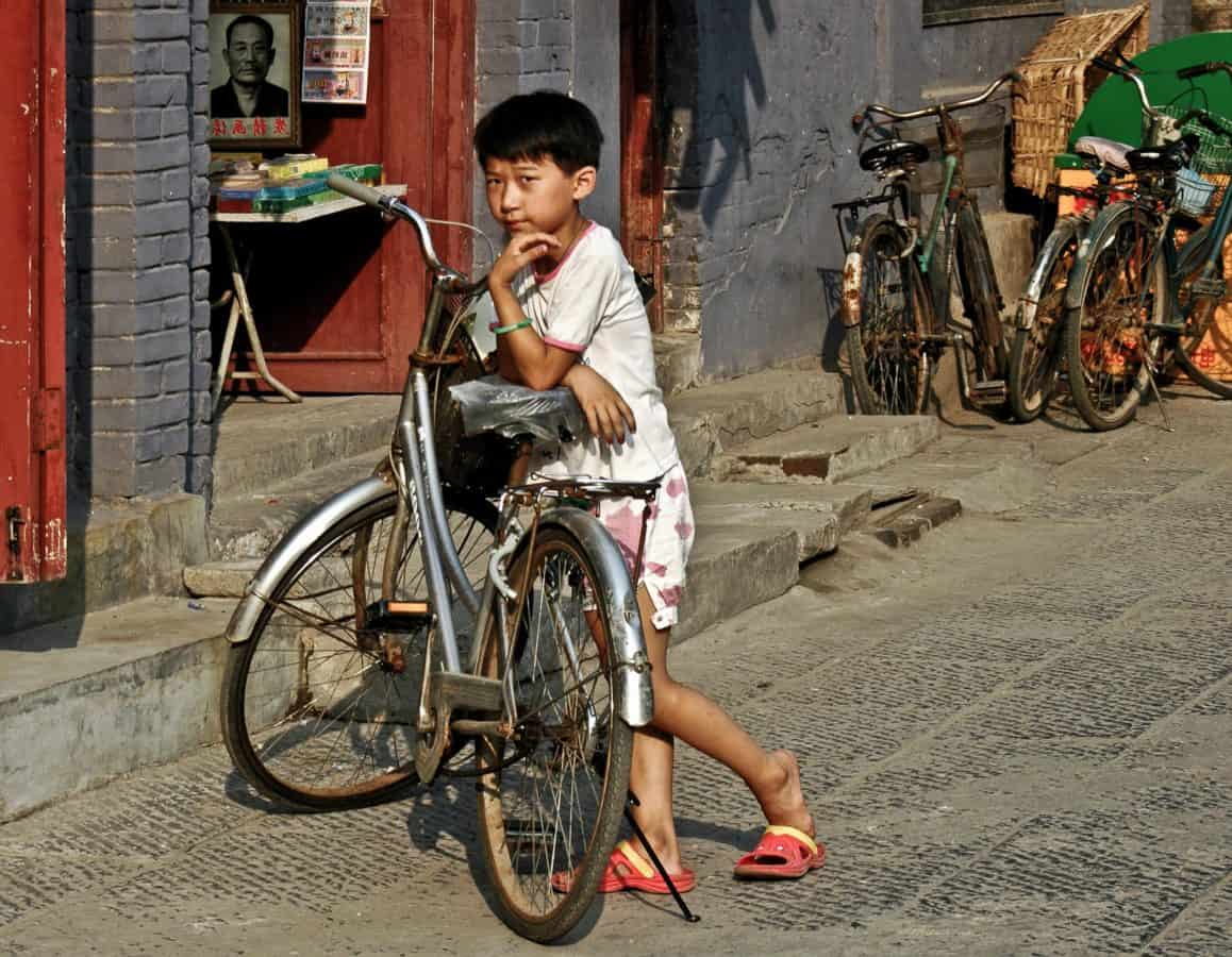 child, city, people, street, outdoor, ground, bicycle