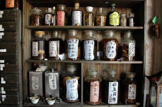 jar, beverage, shelf, wood, glass, bottle object