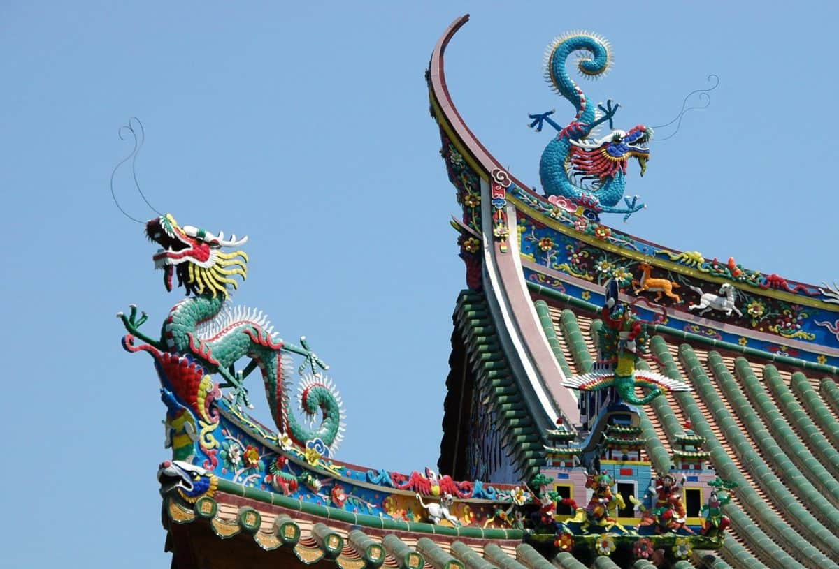 dragon, China, roof, blue sky, colorful, art, architecture, religion, structure