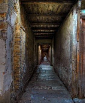 arquitectura, sombra, paso, viejo, pasillo, túnel, oscuro