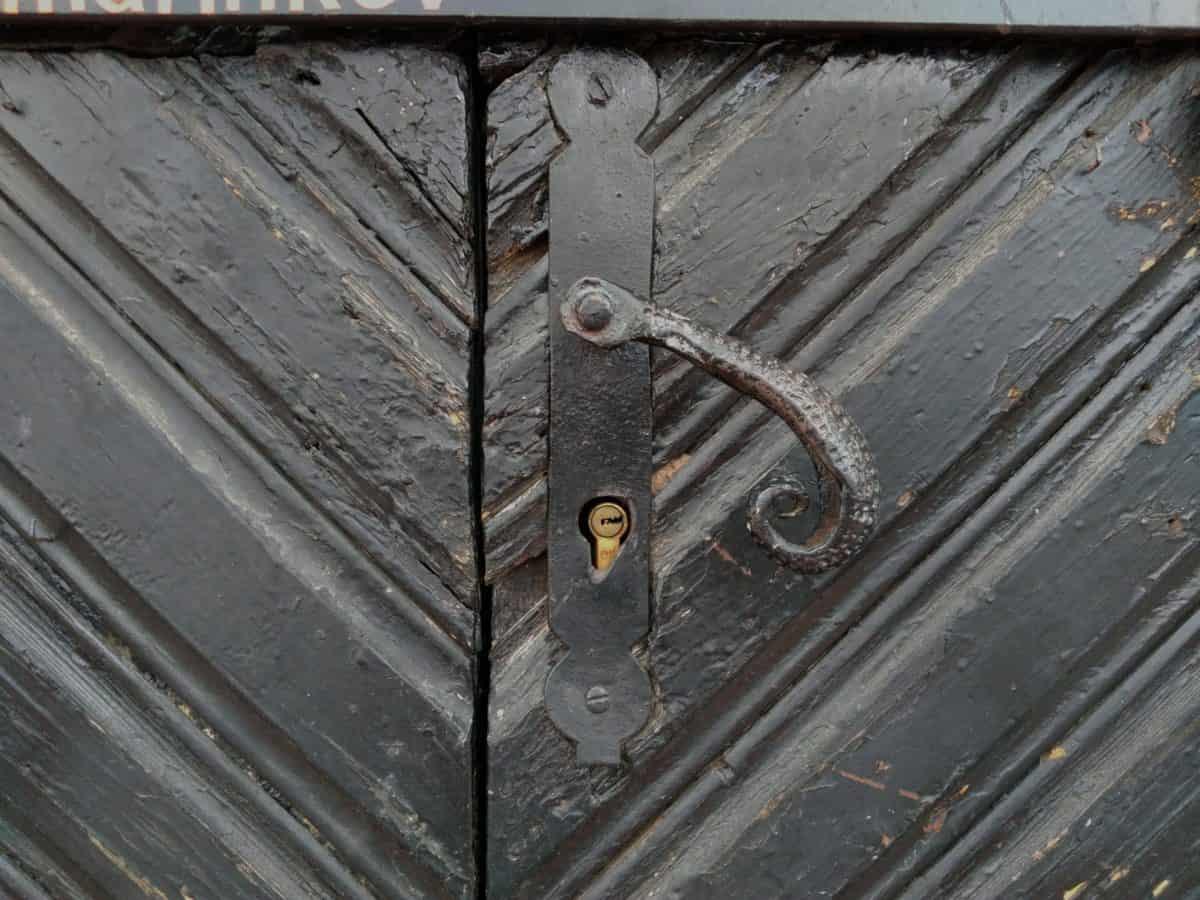 bois, bois, fer, rouille, entrée, vieux, porte, texture