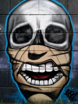 coloré, masque visage, vandalisme, graffiti, art, tête