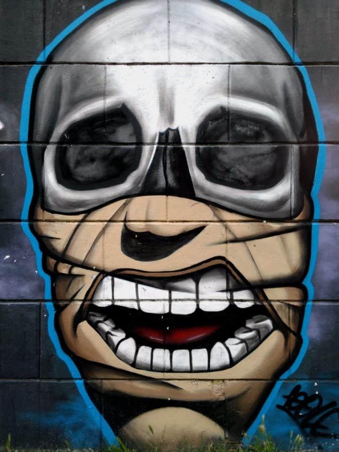 barevné, maska, tvář, vandalismu, graffiti, umění, hlavy