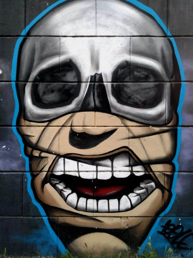 colorful, mask, face, vandalism, graffiti, art, head