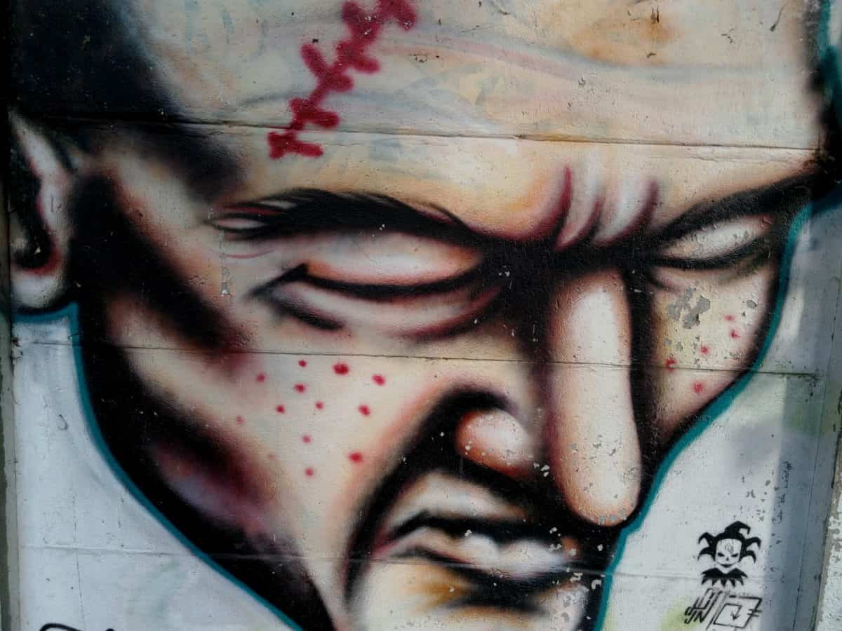 Graffiti, piel, arte, colorido, calle urbana, vandalismo,