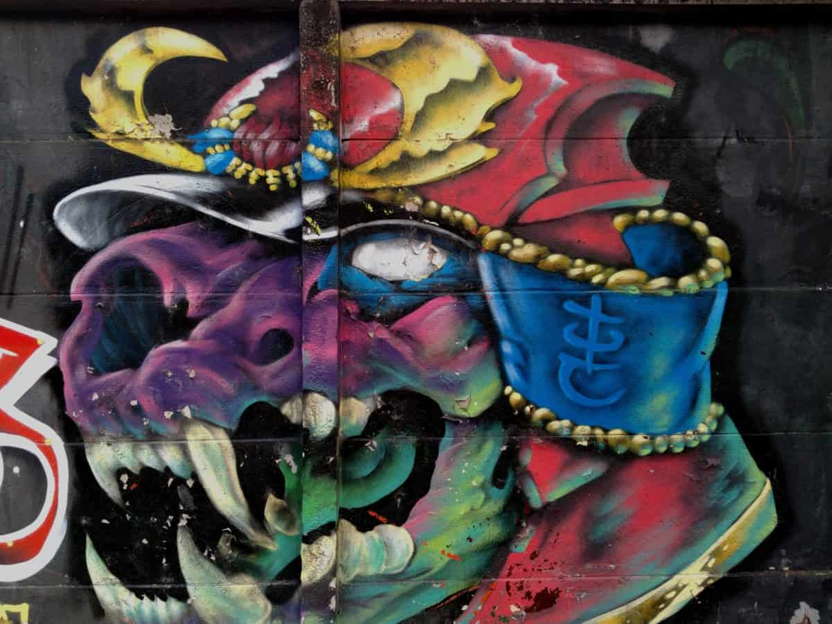 graffiti, colorful, art, mask, animal, wall