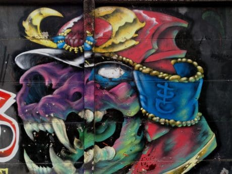 graffiti, colorate, arta, masca, animale, perete