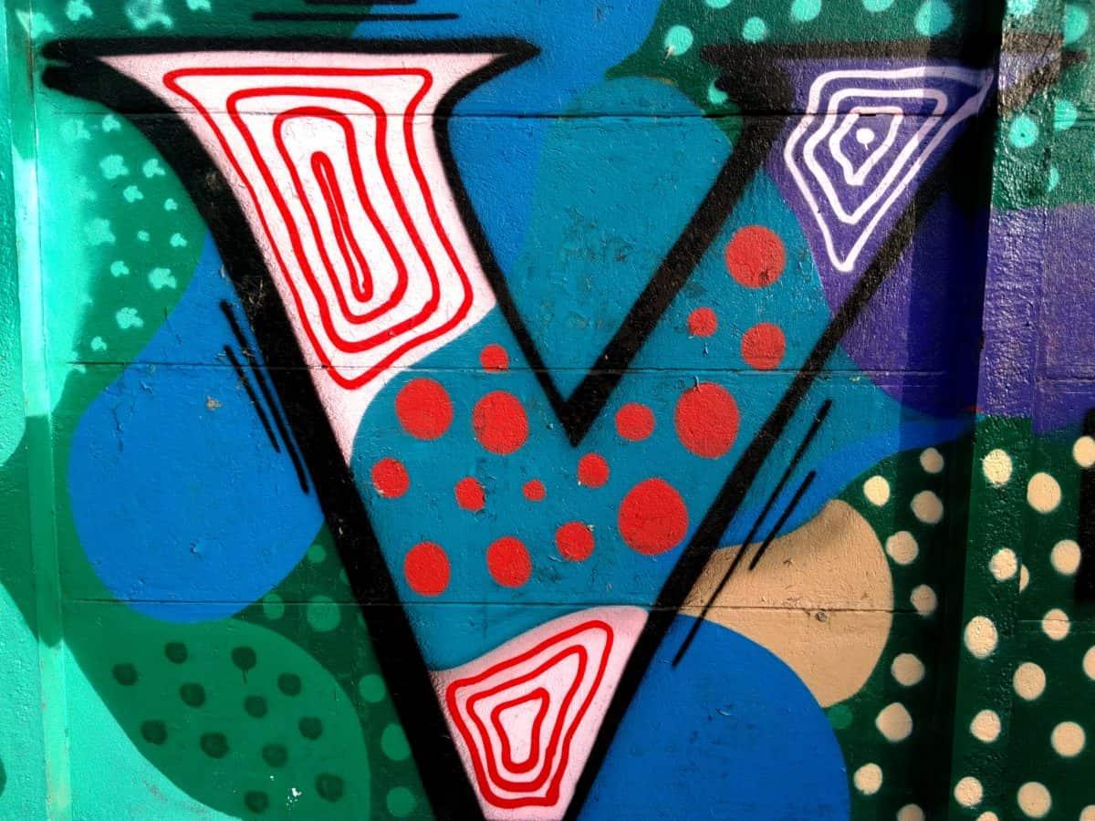 Retro, värikäs, graffiti, design, art, luovuus, merkki