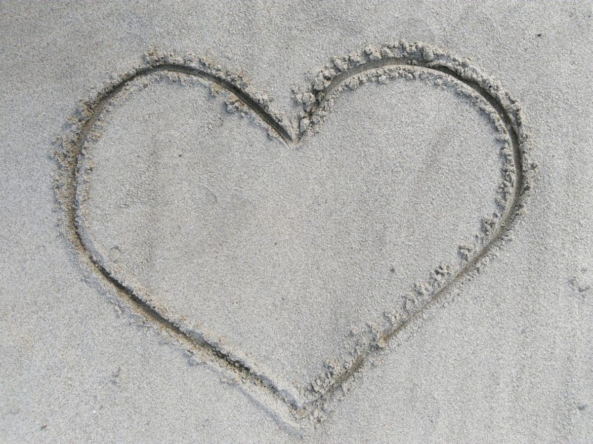 любов, сърце, знак, текстура, пясък, плажа, морския бряг, романтика