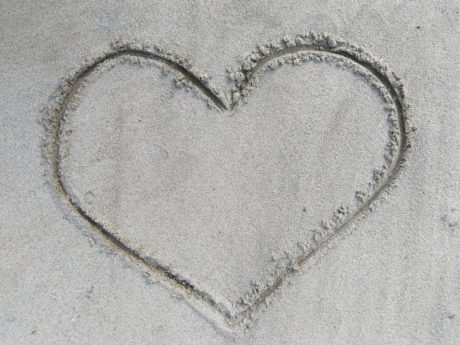 love, heart, sign, texture, sand, beach, seashore, romance