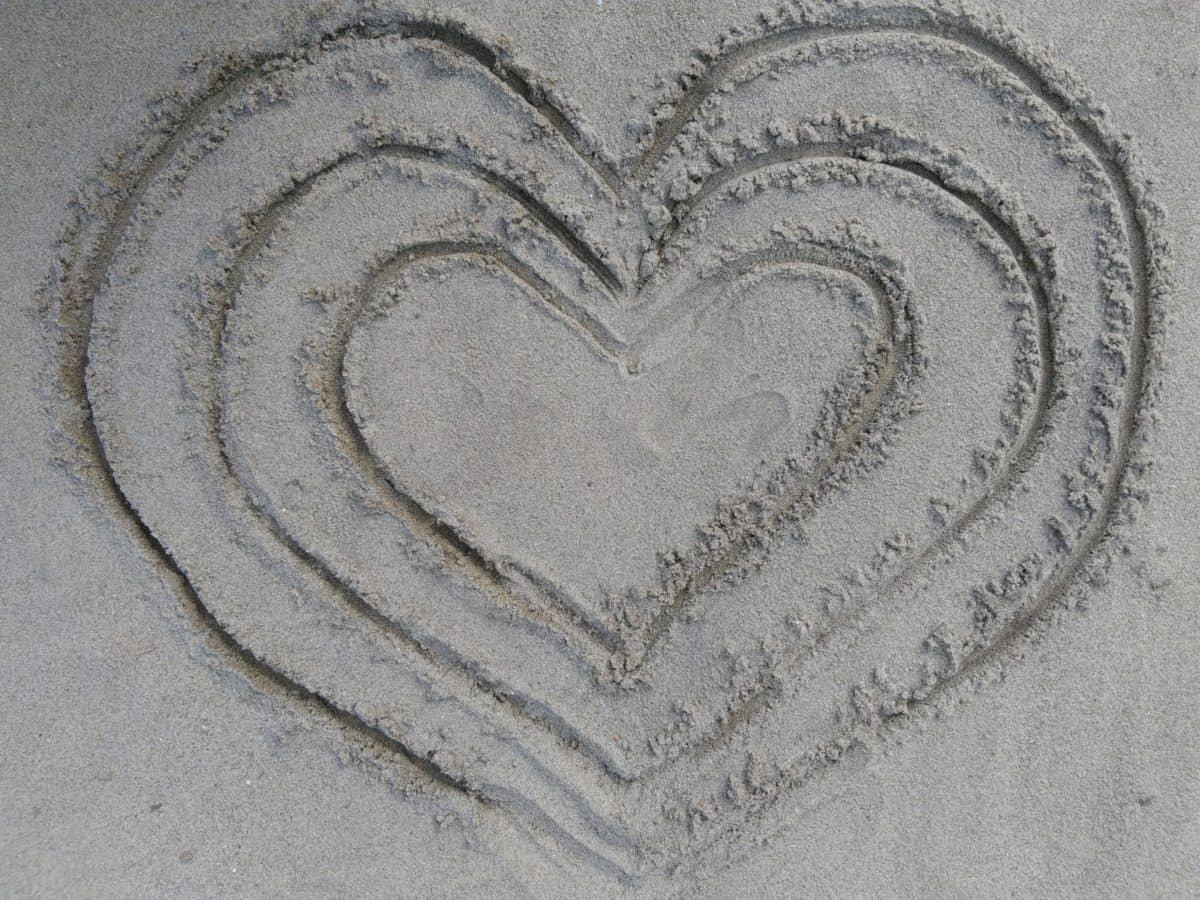 Herz, Liebe, Kunst, abstrakt, Strand, Sand, Textur, Muster