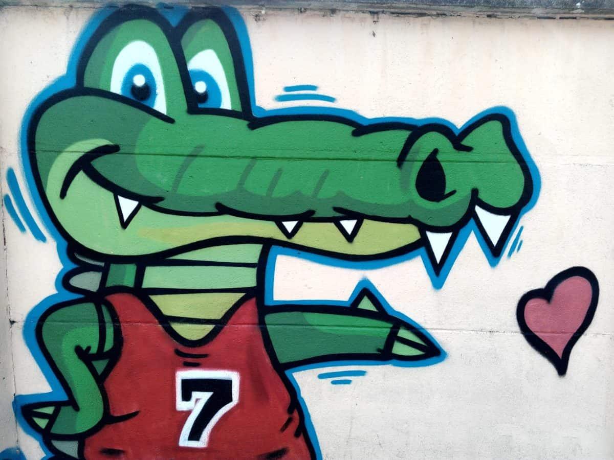крокодил, улицата, градски, вандализъм, изкуството, стена, илюстрация, графити