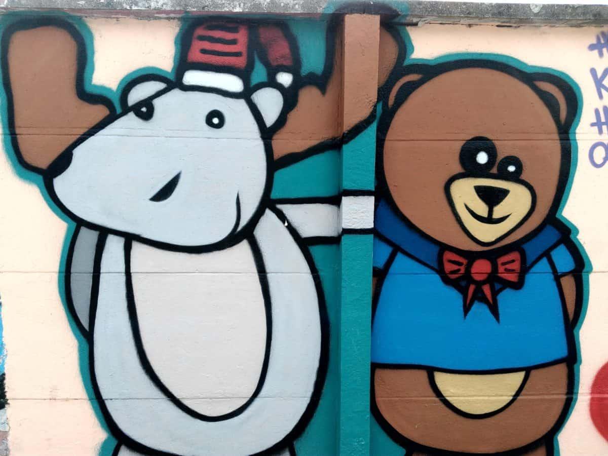 urso, arte, parede, colorido, ilustração, graffiti, sketch
