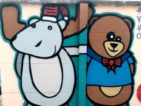 bear, art, wall, colorful, illustration, graffiti, sketch