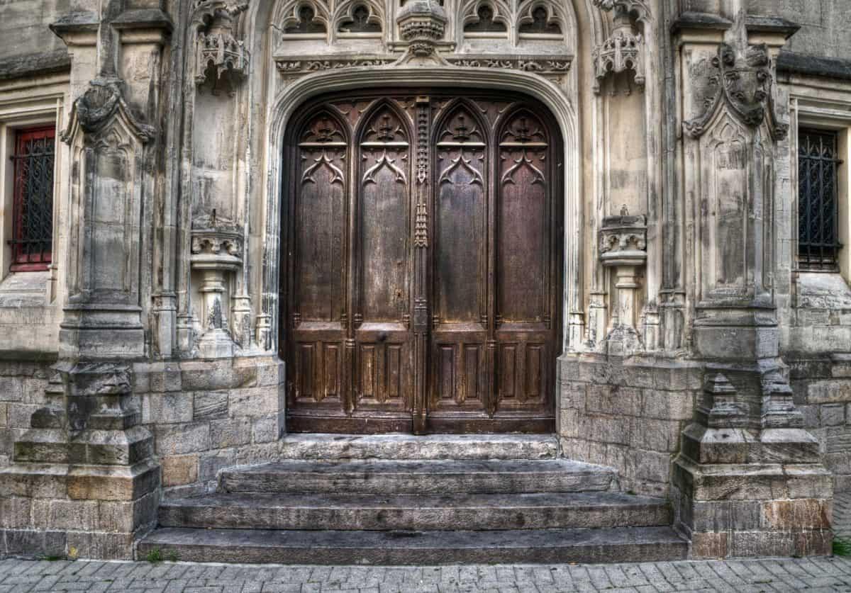 建築、石、古代、ファサード、古いドア、屋外