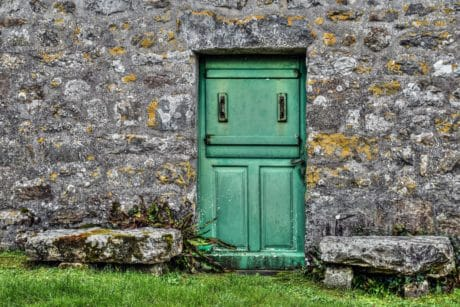 wall, wood, old, architecture, green door, house, grass, outdoor