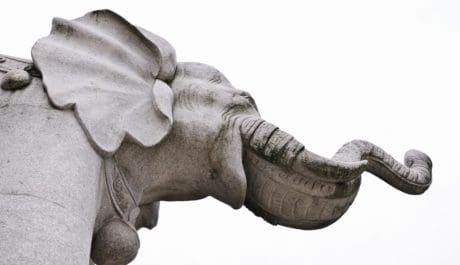 fehér elefánt, művészet, szobor, kő, szobor