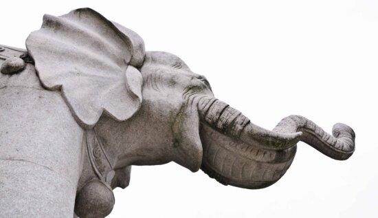 white elephant, art, sculpture, stone, statue