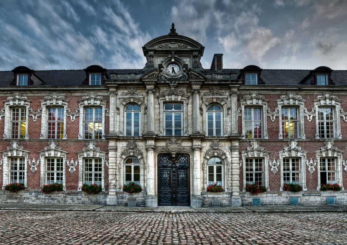 slot, eksteriør, kunst, gamle, facade, hus, arkitektur, sky
