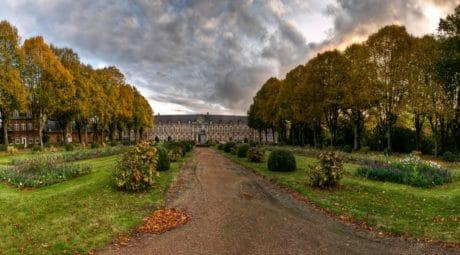 Castillo, arquitectura, calle, otoño, naturaleza, paisaje de árbol, jardín, al aire libre, cielo