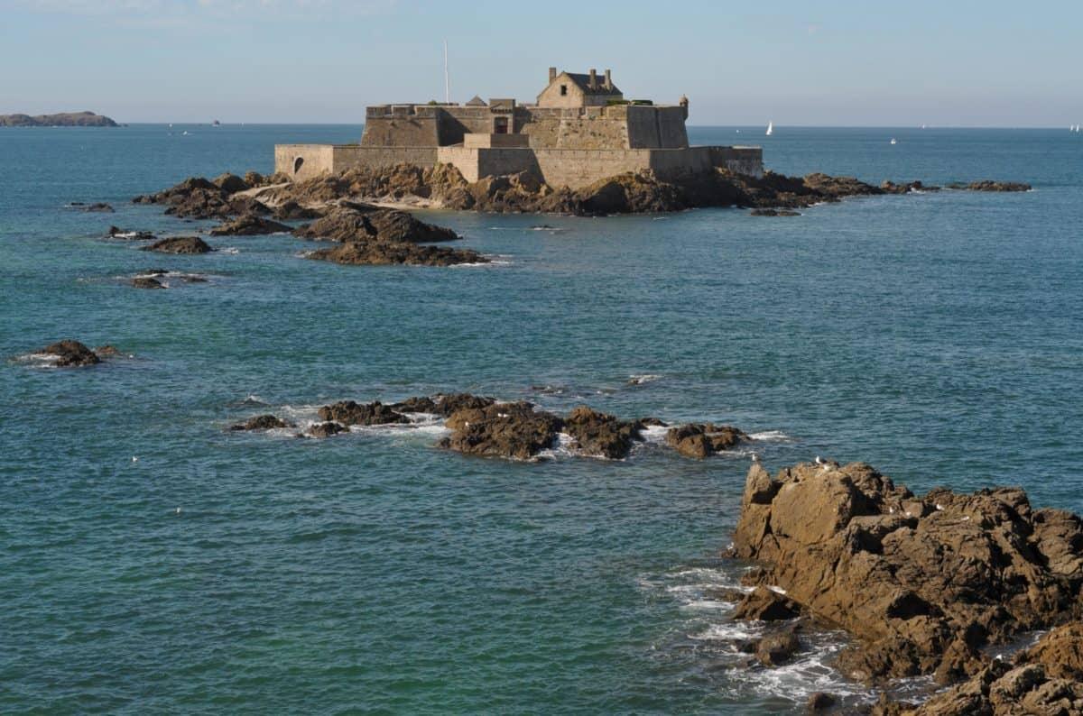 sea, beach, stone, fortress, water, seashore, ocean