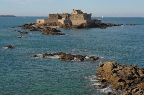 mar, playa, piedra, fortaleza, agua, mar, océano