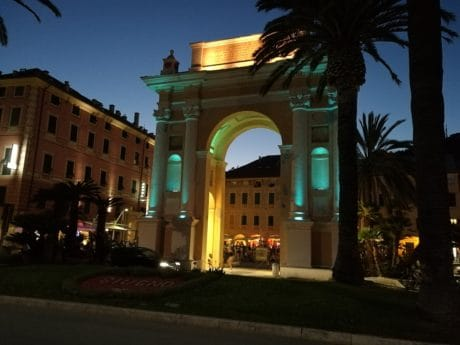 architecture, downtown, gate, night, city, memorial, arch, structure, monument, landmark