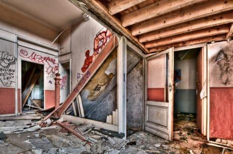 casa, architettura, legno, muro, porta, all'aperto
